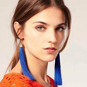 blue FRINGE EARRINGS gold long tassel dangle BOHO